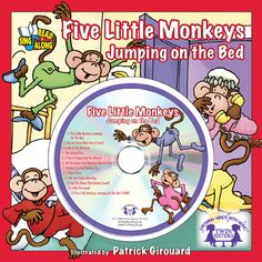 """Five Little Monkeys Jumping on the Bed!         Boing! Boing! Boing! Bedtime turns to playtime for little monkeys in this whimsical book and Music CD set! The classic children's song becomes a favorite story! The new recording follows the story word-for-word so pre-readers can sing and """"read"""" along with each page on their own. Children will develop number, counting, pre-reading and word recognition skills, plus listening and motor skills as they sing, read, and interact with the song…"""