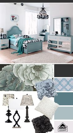 Teal + Black = more chic for a girl's room (Mivara Bed - Ashley Furniture HomeStore)