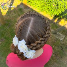 """""""Had the honor of doing this little girls hair for a wedding today. She chose one of the hairstyles  I have done on Luna before. So Pretty with these white flowers Inspired by @prettylittlebraids"""" Photo taken by @ice_braids on Instagram, pinned via the InstaPin iOS App! http://www.instapinapp.com (06/12/2015)"""