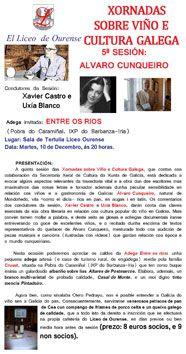 Xornadas sobre viño e cultura galega: Álvaro Cunqueiro @ Liceo - Ourense enoloxía enología literatura