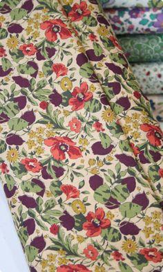 Liberty Print Tana Lawn - Poppy and Honesty Autumn fabric at Clothkits.