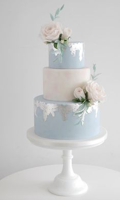 Lace Wedding Cakes Distressed Silver leaf wedding cakes - Wedding Cakes Brisbane, Sunshine Coast and Gold Coast - Collection of iced wedding cakes, and wedding cake designs including hand-crafted sugar flowers. Navy Blue Wedding Cakes, Dusty Blue Weddings, Elegant Wedding Cakes, Beautiful Wedding Cakes, Wedding Cake Designs, Beautiful Cakes, Wedding Cupcakes, Wedding Blue, Lace Wedding