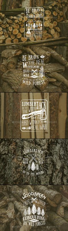 Lumberjack Vintage Labels Vector Set by SaintAntonio Lumberjack vintage label with axes and trees. Hand drawn textured grunge elements for vintage label, retro badge or T-shirt typogr