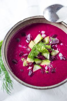 Simple Delicious Beet Gazpacho - Beet Gazpacho- a luscious chilled beet soup with cucumber, avocado, and fresh dill. Vegan and Gluten free. Beet Recipes, Soup Recipes, Vegetarian Recipes, Cooking Recipes, Healthy Recipes, Healthy Gazpacho Recipe, Dill Recipes, Healthy Salads, Cooking Ideas