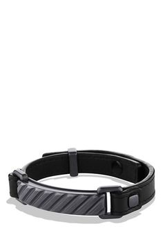 Men's David Yurman 'Modern Cable' ID Bracelet in Black Leather - Black