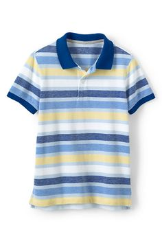 Boys Oxford Stripe Mesh Polo from Lands' End