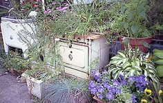 Old appliances used as outdoor planters