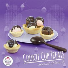 Cookie cup treats. Here is the second part. Step by step pictures. How to do ice cream cookie. Yummy !!!