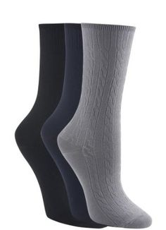 Jockey Classic Cable Knit Socks - 3 Pack, steel/navy/black, ALL Jockey. $11.99