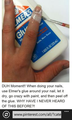 Nail Polish Tips & Tricks for the Perfect DIY Manicure: Use a small paintbrush or a Q-tip to apply Elmer's glue around your nails. Wait to dry, paint nails, let dry, then peel the glue off with no remnants of nail polish Do It Yourself Nails, Do It Yourself Fashion, How To Do Nails, Diy Beauty Hacks, Beauty Hacks For Teens, Hacks Diy, Beauty Ideas, Beauty Advice, Nail Art Hacks