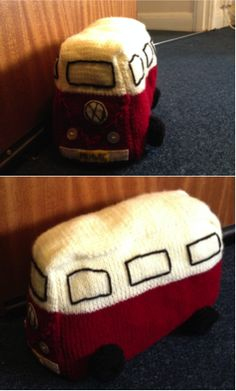 VW Van Doorstop; a combination of kitting (body of the van, crochet (wheels), buttons for lights, felt for the bumpers and VW symbol.