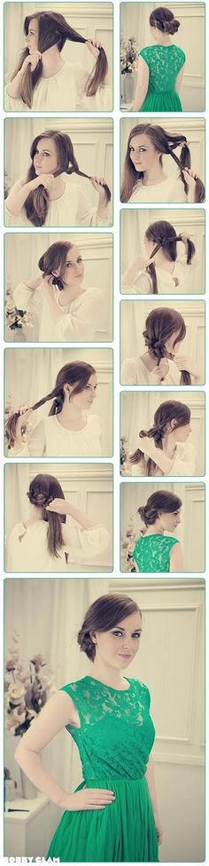DIY side updos for long hair, tutorials for side knotted updo and elegant side chignon.Interesting, fashionable and elegant hair style for long hair. Up Hairstyles, Pretty Hairstyles, Twisted Hair, Corte Y Color, Looks Vintage, Great Hair, Looks Cool, Hair Day, Gorgeous Hair