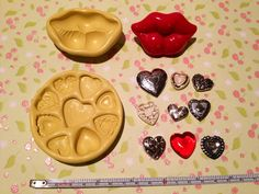 Set of 10 silicone molds for hearts and lips. $20.00, via Etsy.