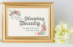I'd love to be the Sleeping Beauty. But without the Prince. I just want to sleep. Romantic Look, Typography Poster, Digital Image, Fairy Tales, Sleeping Beauty, Prince, Love, Frame, Etsy