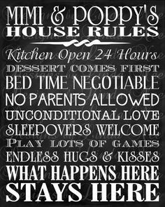 Printable Mimi and Poppy's House Rules - Subway Art Wall - You choose one size - 4x6, 5x5, 5x7, 8x8, 8x10, 10x13, 11x14, 12x12, 16x20  Perfect gift for all occasions and hard to buy for friends and relatives. Frame print for a personal and memorable gift! Printable Mimi and