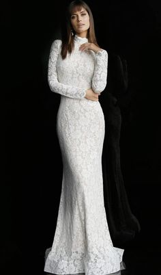 Off White Nude Long Sleeve Lace Bridal Dress 63209 Informal Wedding Dresses, Long Wedding Dresses, Bridal Dresses, Formal Dress, Modest Wedding, Casual Wedding, White Lace Wedding Dress, Lace Dress, Turtleneck Wedding Dress