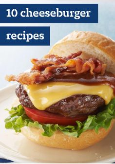 10 Cheeseburger Recipes — If it's summer, it's time to get the BBQ grill ready and make burgers. Whether it's topped with cheese or bacon or just kept simple, you'll find the perfect burger recipe for (Simple Burger Recipes) Bacon Cheese Burger Recipe, Cheeseburger Recipe, Bbq Bacon, Burger Recipes, Grilling Recipes, Beef Recipes, Cooking Recipes, Cheeseburger Cheeseburger, Gastronomia