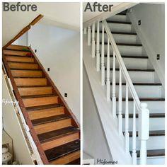 """""""Przed i po. Ze stareńkich schodów małym kosztem zrobiliśmy nowe. #beforeandafter #instaday #starydom #dombieląmalowany #schody #white #wood #stairs…"""""""