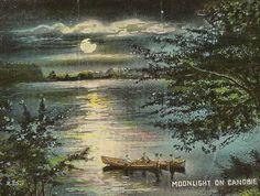 Moonlight on Canobie Lake New Hampshire Vintage Postcard 1914 Full Moon