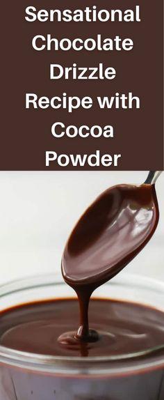 Chocolate Cake Recipe Cocoa Powder, Chocolate Cake Icing Recipe Easy, Easy Ganache Recipe, Chocolate Drizzle Cake, Icing Recipe For Cake, Chocolate Icing Recipes, Cocoa Powder Recipes, Chocolate Ganache Frosting, Chocolate Drip