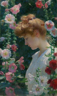 Charles Courtney Curran (1861–1942), Hollyhocks and Sunlight - 1902
