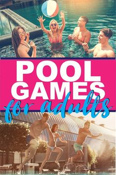 28 of the best pool games for teens, kids, or even for adults! Fun swimming pool games you can play without toys and ones you can DIY at home to play with a group at the pool! So many fun family friendly game ideas! Pool Party Activities, Swimming Pool Games, Pool Party Games, Cool Swimming Pools, Activities For Adults, Games For Teens, Cool Pools, Play Pool, Pool Fun