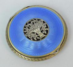 Beautiful Blue Guilloche Enamel Sterling Silver Ladies Powder Case / Compact