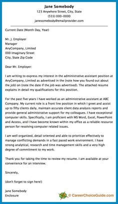 Cover Letter Sample For An Administrative Assistant  Resume Cover Letter Samples