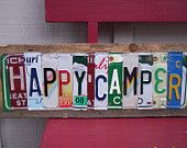 """Items similar to One Of a Kind - Custom """"HAPPY CAMPER"""" Vintage License Plate Sign Art Camping Outdoors Colorado on Etsy"""