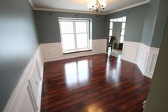 Beautiful wall color, luxurious floors and classy wainscoting = our type of renovation, though this is not our work. - CraftPro | www.craftprocontracting.com/portfolio/