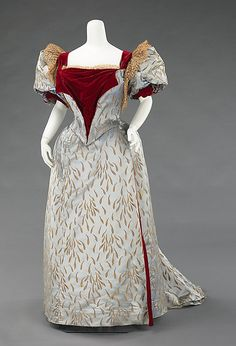 Evening Dress: Short Sleeve Bodice, House of Worth 1893, French, Made of silk and linen