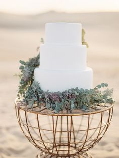 White cake with greenery | Neutral Desert Goddess Bridal Inspiration