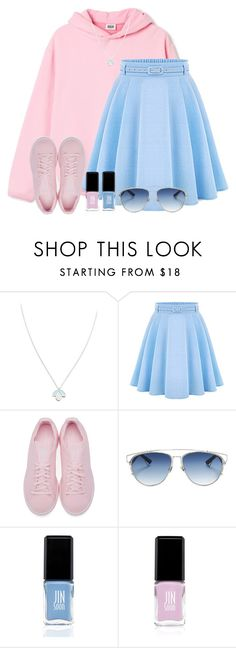 """""""Two Shades of Gorgeous: Blue & Pink (#6)"""" by iamdollie ❤ liked on Polyvore featuring Wolf & Moon, WithChic, adidas Originals, Christian Dior, JINsoon and Jin Soon"""