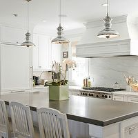 Carter & Company Interior Design - kitchens - kitchen island, gray quartz countertops, white washed counter stools, mercury glass pendant, m...