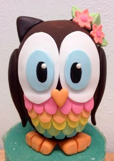 Fondant Owl Cake Topper- 3D Owl only- up to 5 colors on Etsy, $28.00