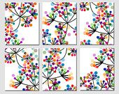 Modern Abstract Colorful Dots Collection -  Set of Six 8x10 Prints -  Rainbow Colorful
