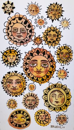 Suns print is part of pencil-drawings - 9 25 originally ink and watercolor on cold press paper, printed on high quality matte photo paper Want to stay updated on new art, Bedroom Wall Collage, Photo Wall Collage, Collage Art, Aesthetic Iphone Wallpaper, Aesthetic Wallpapers, Art Hippie, Hippie Drawing, Hippie Painting, Painting Art