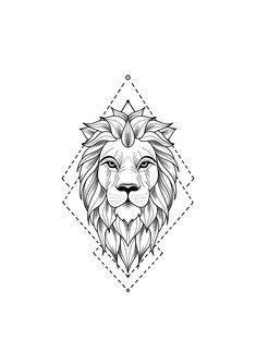 Tattoo Drawing - Drawing of a lion tattoo. A mix of art and geometry -Lion Tattoo Drawing - Drawing of a lion tattoo. A mix of art and geometry - lion tattoo with geometric touches © tattoo artist Mike Sledz ❤❤❤❤❤ Tattoo . Leo Tattoos, Animal Tattoos, Cute Tattoos, Hand Tattoos, Sleeve Tattoos, Tattoos For Guys, Flower Tattoos, Cross Tattoos, Tattos