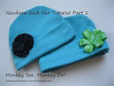 Newborn Knit Hat Tutorial - repurposed from t-shirts. There's Part 2 and Part 3 (embellishing) and printable Hat Pattern in blog archive for March 2011