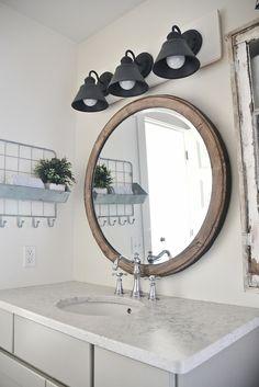 Diy Farmhouse Bathroom Vanity Light Fixture Large Round Mirror Vanity Light Fixtures And