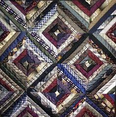 Memory quilt made from ties  sarahduffeyquilts.com