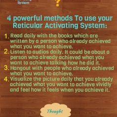 This is an infographic to teach people how to use their reticular activating system to change their beliefs.
