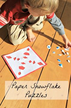 looking for Preschool winter crafts that are simple and full of learning?  Check out these paper snowflake puzzles!  www.HowWeeLearn.com
