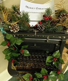 A fun way to decorate for Christmas with an old vintage typewriter