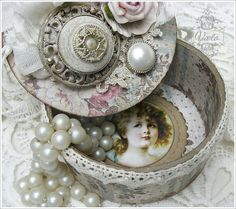 Shabby Chic Inspired Trinket Box - made from an empty tape roll.