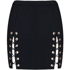 Honey couture kyla black lace up split bandage mini skirt ($150) ❤ liked on Polyvore featuring skirts, mini skirts, bandage mini skirt, lace up skirt, mini skirt, short mini skirts and short skirts