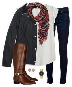 """plaid scarf"" by tex-prep ❤ liked on Polyvore featuring J Brand, Rebecca Taylor, Madewell, Kate Spade, Tory Burch and Allurez"