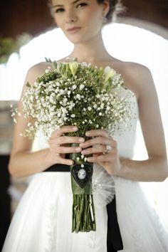Pretty Green & White Bridal Bouquet With White Gypsophila, White Freesia