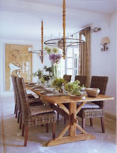 wicker chairs and pine trestle table- LOVE the table! Country Kitchen Tables, Kitchen Sets, Farmhouse Table, Dining Table Chairs, Dining Room, Wicker Chairs, Trestle Table, Porches, Eclectic Chairs