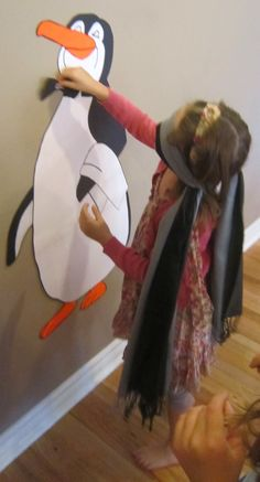 Party game - pin the bowtie on the penguin